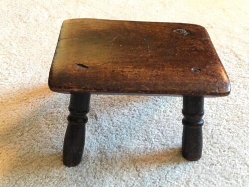 Antique English Wooden Stool Small Folk Art 19th Century