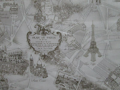 Vintage Paris Land Mark Landmarks Map Tan Cotton Fabric Fq