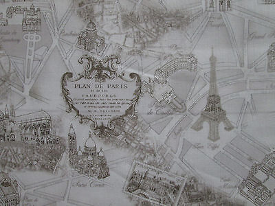 Vintage Paris Land Mark Landmarks Map Tan Cotton Fabric Bthy