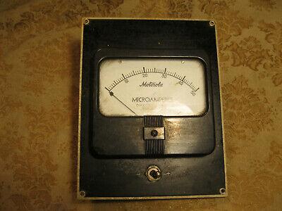 Vintage Motorola Simpson Microamperes Dc Gauge 50 Meter Analog Panel With Panel