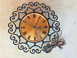 VTG Danish Black Wrought Iron Brass Electric Wall Clock Scroll Art Rustic Finish