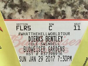 2 Dierks Bentley tickets. Budweiser Gardens  London Ontario image 3