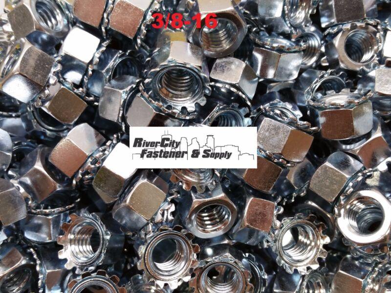 (500) 3/8-16 External Star Lock / Kep Nuts 3/8 x 16 Locking Keps Nut / Locknuts
