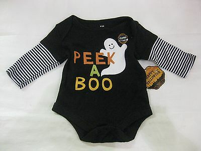 Boo Costume For Toddler (Halloween Peek A Boo Tee Shirt That Glows In The Dark For Toddler 0/3M NEW)
