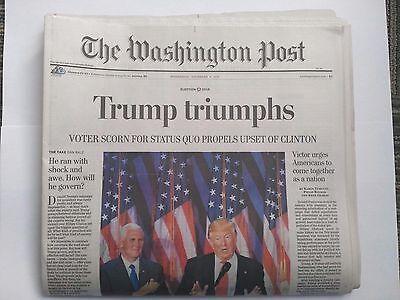 Trump Triumphs Washington Post Newspaper 11/9/2016 Mailed Flat/Sealed in Plastic
