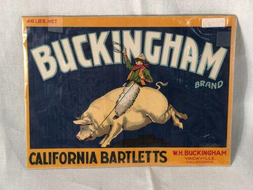 Buckingham California Bartletts Vacaville California Original Crate Label