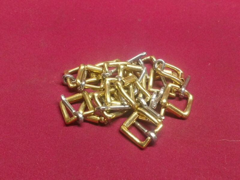 """Leather Hardware - LOT 16 SOLID BRASS #49 Heel Bar Roller Buckles - Size 1/2"""""""