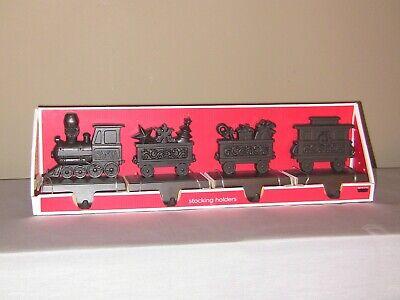 Set of 4 Target Brand Bronze Tone Santa Train Christmas Stocking Holders