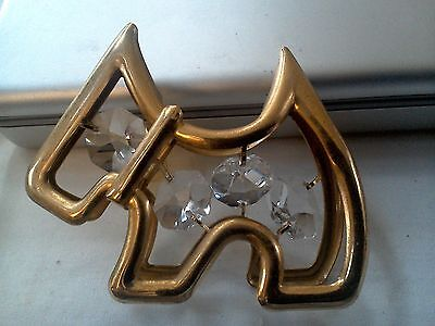 Vintage Scottie Scottish Terrier Dog Crystal Delight Suncatcher 24K Plate NWOT!