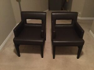 CHOCOLATE BROWN LEATHER DINING CHAIRS (2 X $100 each)