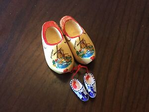 Miniature wooden Dutch shoes and plate