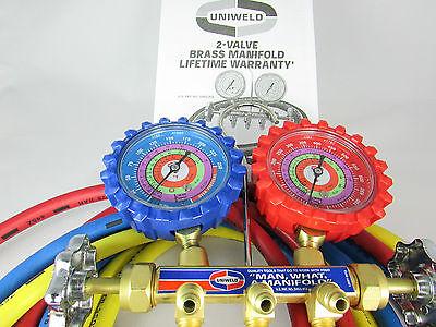 Ac Manifold Gauges Uniweld Brass Bodyrefrigerants R410a R22 R404a 60 Hoses