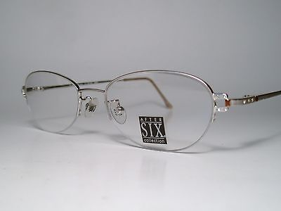 "New AFTER SIX ""CHARMED"" Cord Rimless Eyeglasses Frame Platinum 51-18 Lg List$210"
