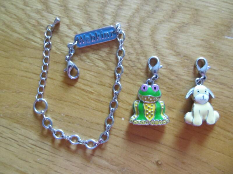 Webkinz Charm Lot: Bracelet + 2 Charms, Frog, Chihuahua EUC