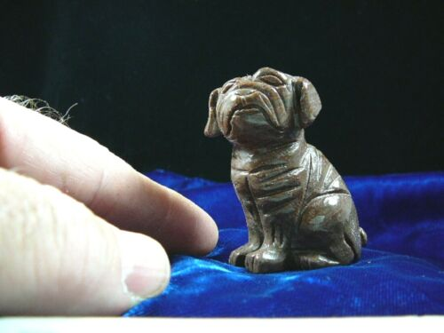 (Y-DOG-SH-707) brown tan SHAR PEI Pug sharpei dog dogs FIGURINE carving LOVE