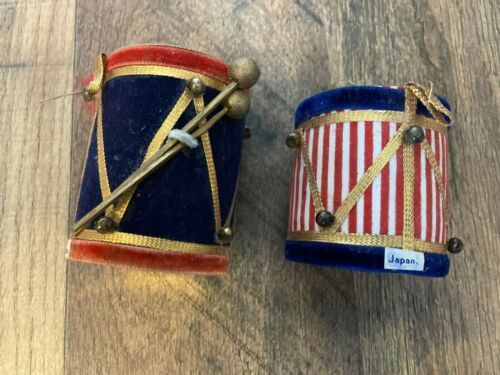 2 vintage Christmas ornaments DRUMS marching band wood paper styrofoam cloth