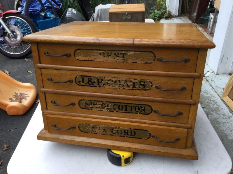 Magnificent Large Antique J&P Coats 4 Drawer Oak Spool Chest Cabinet File