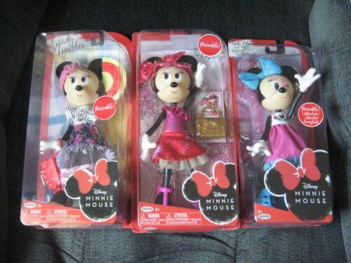 "3 JAKKS Disney Fully Posable Minnie Mouse Dolls 9"" H Cool. Chic & Traveler NIP"