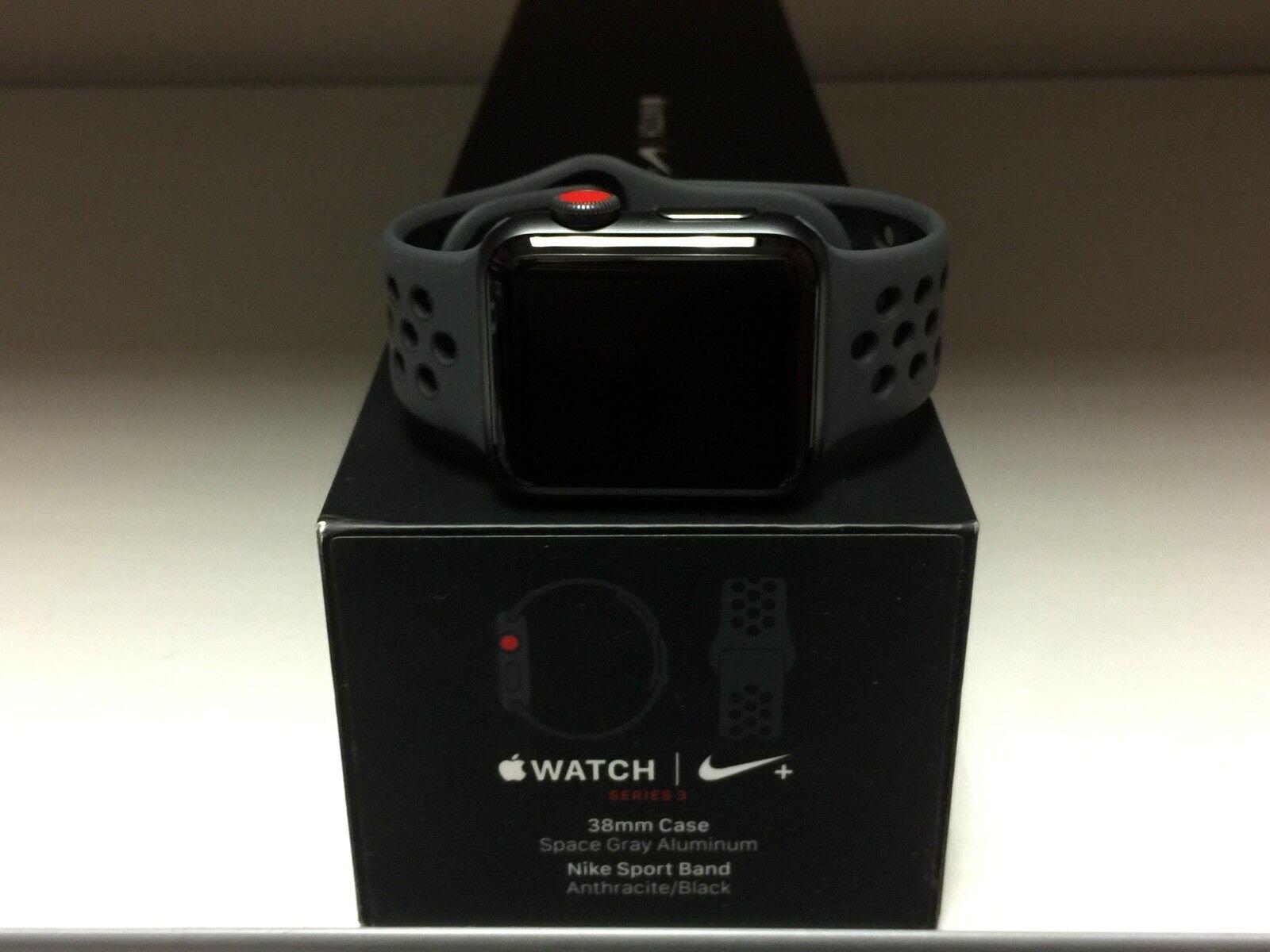 378b8f42 NEW Apple Watch Series 3 38mm Nike Black Sport Band GPS+Cellular Genuine  OEM фото