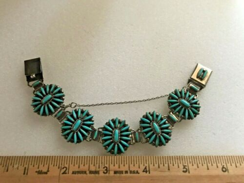 Zuni Turquoise Needlepoint Link Bracelet Signed By E.B. Waatsa w/ bonus earrings