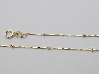 Pure 10K Solid Gold Box Necklace with Bead Real Gold Beaded Box Chain  - Gold Bead Necklaces
