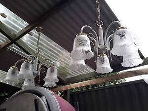 Pair of  Pendant Etched Glass Lights Broadmeadows Hume Area Preview