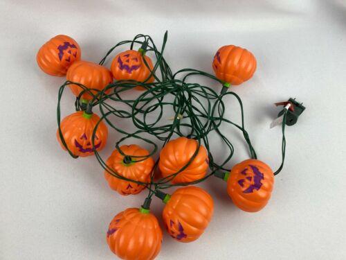 Vintage Halloween String Lights Pumpkin Jack o Lantern 10 Blow Mold Purple Face