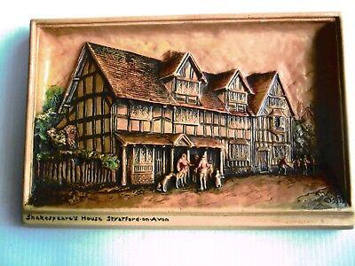 "Osborne Myorex 3D Wall Plaque - ""Shakespeare's House"" - Hand Painted Sterine Wax"