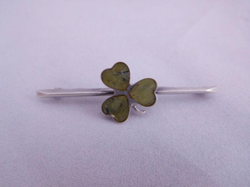 VINTAGE STERLING SILVER IRISH FIGURAL LUCKY SHAMROCK 3 LEAF CLOVER PIN