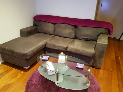 L shape couch - Brown