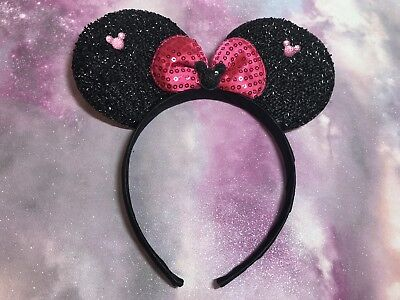 Disney Theme Minnie Mouse Kids & Adults Black Pink Ears Headband Hairband