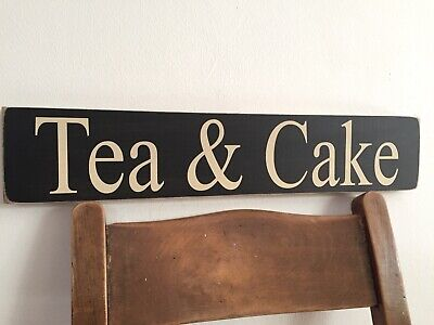 Tea sign Teas Cake Vintage Kitchen Bakery Wooden Cafe Cakes Shop Tea & Cake