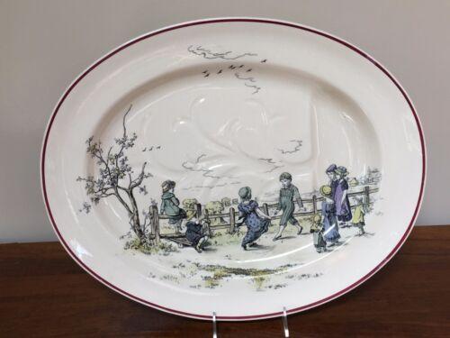 "Brownfield & Sons PASTIMES KATE GREENAWAY 20"" Meat Platter Transferware ca. 1884"