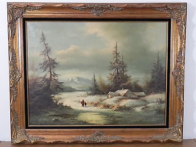 Antique Vintage Oil on Canvas Original Painting signed by Artist 50