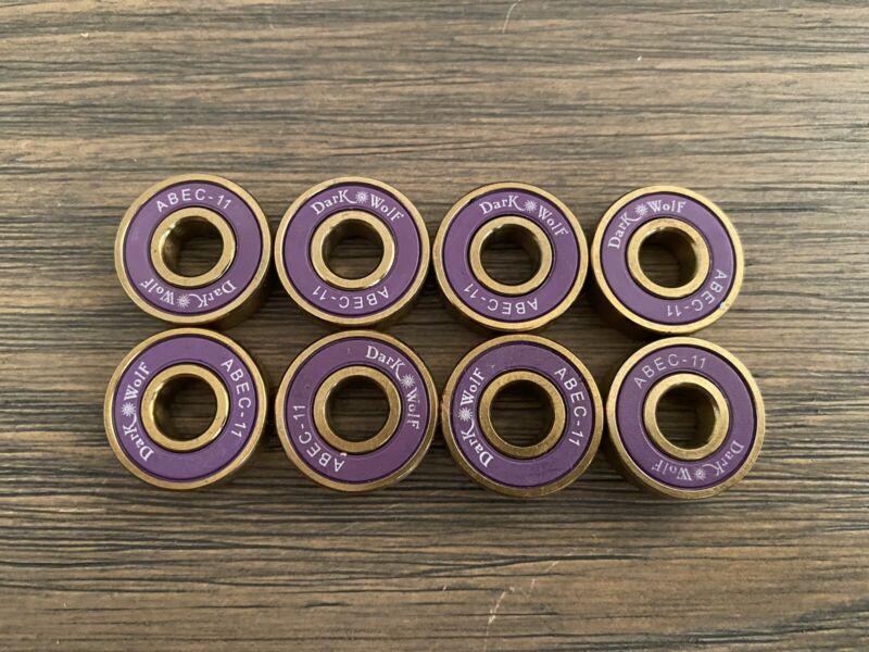 8pcs Dark Wolf ABEC-11 Purple And Gold Skateboard Bearings! Fast!