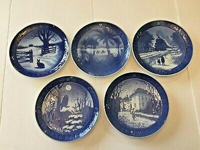 Lot 5 Royal Copenhagen Christmas Collector Porcelain Plates 1971-1975