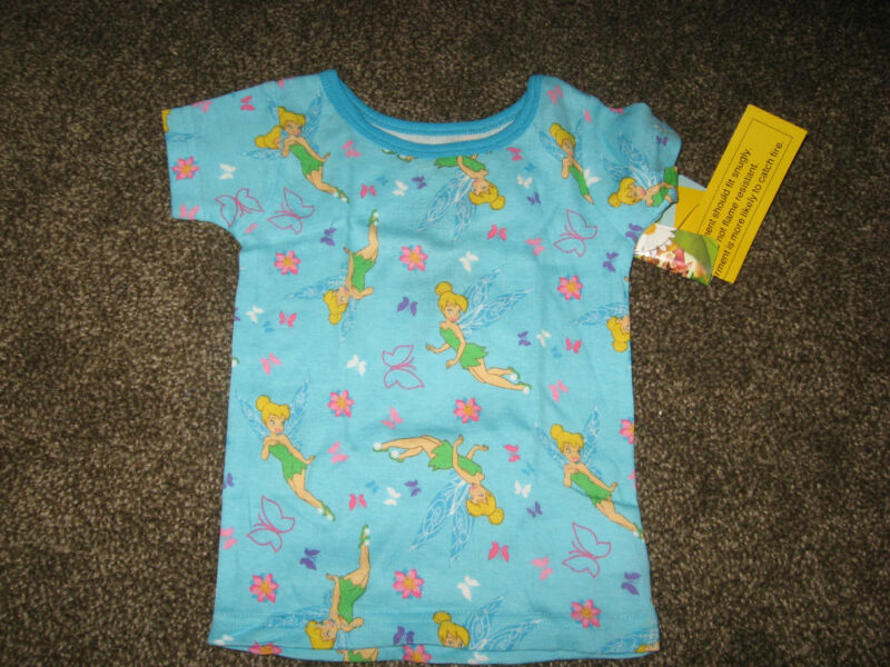 NWT Disney Fairies Light BlueTinkerbelle 100% Cotton Pajama Top 18 Months