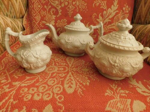 ANTIQUE STAFFORDSHIRE WHITE SALT GLAZED STONEWARE TEA SET jewel pattern 3 pcs