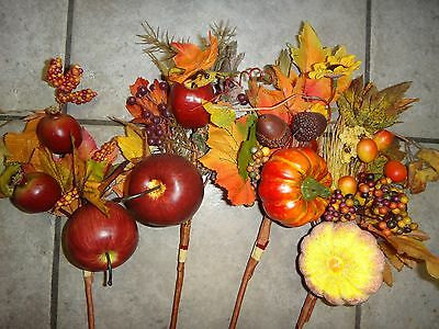 - Halloween Bouquet Pumpkins Apples Pomegranates Red and Yellow Leaves Set of 4