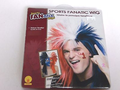 Deluxe Red White Blue Sports Fan Wig Halloween Costume Rubies Trick Or Treat - Halloween Sports Fan