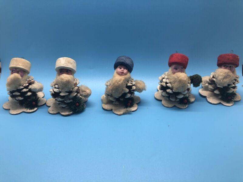 Set of 5 Antique Christmas Pinecone Gnomes / Elf Ornaments