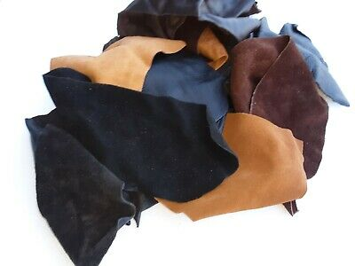 2 Pounds Soft Remnant Scrap Leather - Assorted Browns Black