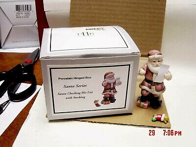 PHB MIDWEST SANTA CHECKING HIS LIST  BISQUE  TRINKET BOX W/ STOCKING TRINKET