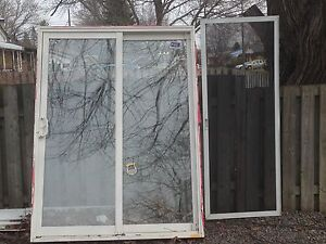 Sliding door with frame and screen