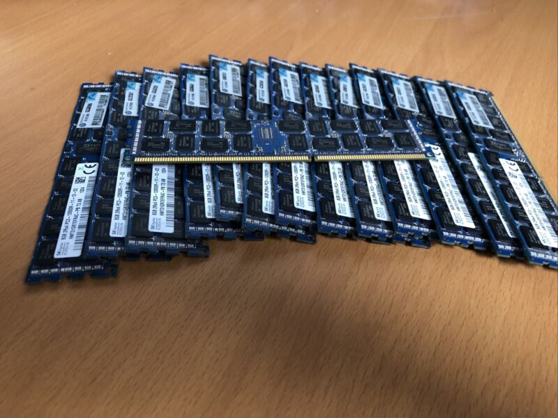HPE OEM 8GB DDR3 ECC RAM 1600 MHZ modules  (16 modules available/128 GB)