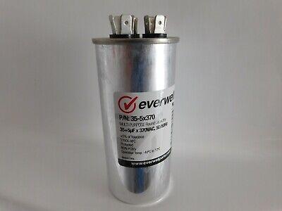 Dual Run 355 Mfd 370vac Electric Motor Run Oil Filled Capacitor Uf Hvac 35-5
