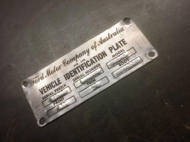XK XL Ford Falcon Futura Customline & Mainline ID Compliance Plate Tag Stickers