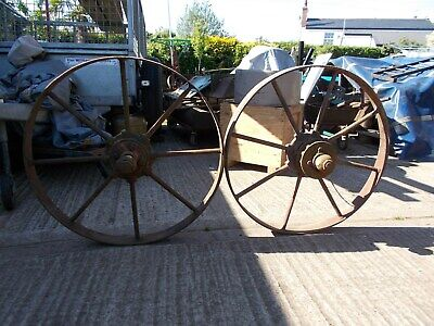 iron wheels x2 34inches high garden feature barn find old vintage farming