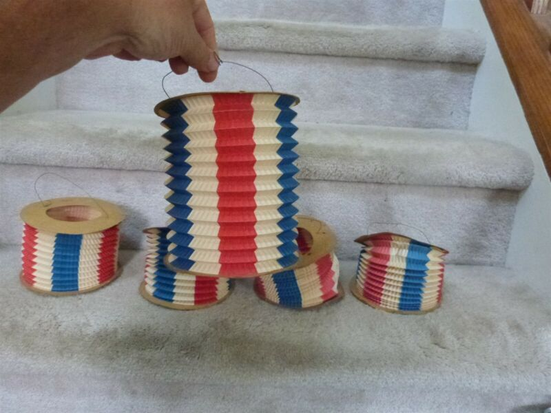 """5 RARE VINT pre-WWII Red White Blue Hanging Candle Paper Lantern Germany 5""""x6 L2"""