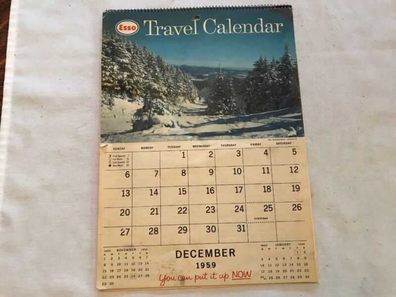 1960 ESSO Vintage Travel Calendar With Full Pad